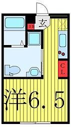 FARE駒込II 2階ワンルームの間取り