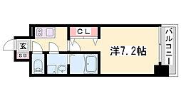 プレサンス三宮ポルト 4階1Kの間取り
