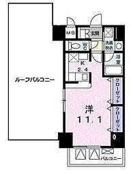 小田急江ノ島線 湘南台駅 徒歩7分の賃貸マンション 8階1DKの間取り