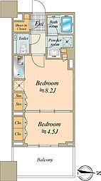 東京メトロ日比谷線 八丁堀駅 徒歩5分の賃貸マンション 8階1LDKの間取り