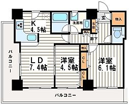 カスタリアタワー長堀橋[4階]の間取り