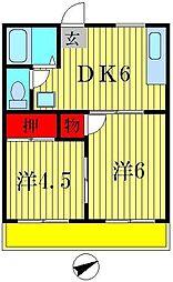 小西第6マンション[2階]の間取り