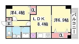 オーク松本通[601号室]の間取り