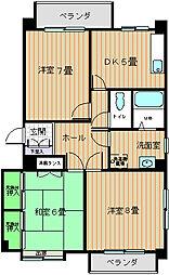 矢野ハイツ3棟[202号室]の間取り