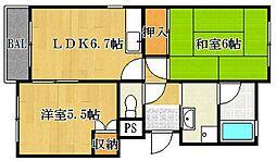 大阪府茨木市沢良宜西4の賃貸マンションの間取り