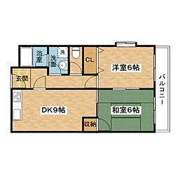 大阪府摂津市三島2丁目の賃貸マンションの間取り