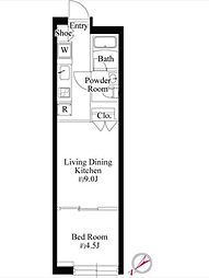 JR山手線 恵比寿駅 徒歩11分の賃貸マンション 1階1LDKの間取り