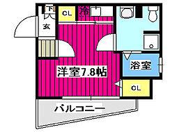 ARTIS仙台花京院 7階ワンルームの間取り
