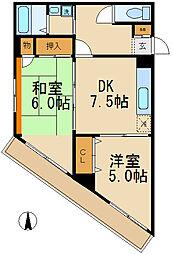 千葉県松戸市松戸の賃貸マンションの間取り