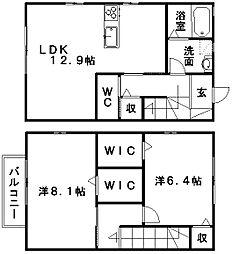 [テラスハウス] 静岡県浜松市浜北区西美薗 の賃貸【静岡県 / 浜松市浜北区】の間取り