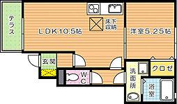福岡県北九州市若松区畠田3丁目の賃貸アパートの間取り