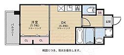 C.P.B.S 4階1DKの間取り
