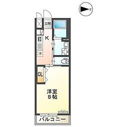 JR山陽本線 東福山駅 徒歩20分の賃貸アパート 2階1Kの間取り