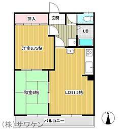 ゆうなみハイツ[1階]の間取り