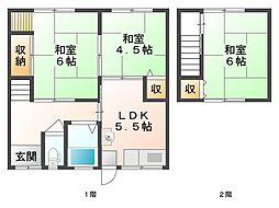 [タウンハウス] 岡山県岡山市東区西大寺北 の賃貸【/】の間取り