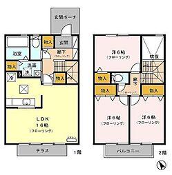 [テラスハウス] 静岡県富士市伝法 の賃貸【/】の間取り