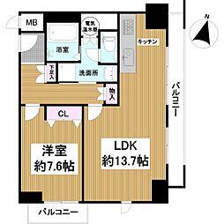 ルイ・シャトレ中之島 6階1LDKの間取り