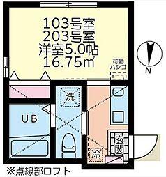 東急東横線 菊名駅 徒歩3分の賃貸アパート 1階1Kの間取り
