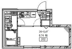 京王線 初台駅 徒歩8分の賃貸マンション 1階1Kの間取り