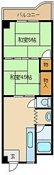 大野ハイツ[3階]の間取り
