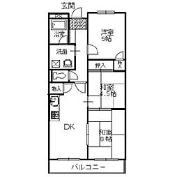 バルカン富田林[4階]の間取り
