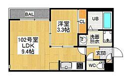 愛知県名古屋市中村区岩塚本通4丁目の賃貸アパートの間取り