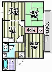 ハイツUNO[A102号室]の間取り