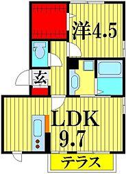 埼玉県越谷市レイクタウン7丁目の賃貸アパートの間取り