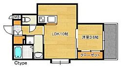 福岡市地下鉄空港線 博多駅 徒歩15分の賃貸マンション 4階1LDKの間取り