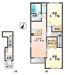 仮)坂東市辺田新築アパート[201号室]の間取り