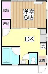 寿荘[201号室]の間取り