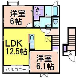 メゾン・ベールC棟[2階]の間取り