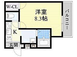 フジパレス新高2番館 1階1Kの間取り