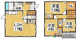 [一戸建] 福岡県久留米市上津町 の賃貸【/】の間取り