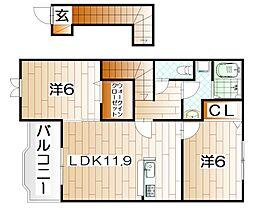 カームリーハウスT・A[203号室]の間取り
