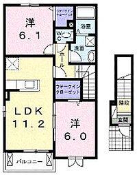 香川県綾歌郡宇多津町浜三番丁の賃貸アパートの間取り