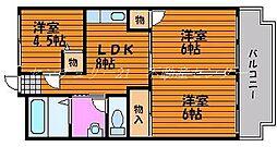 岡山県岡山市中区赤田の賃貸マンションの間取り