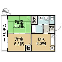 第5アローハイツ[4階]の間取り