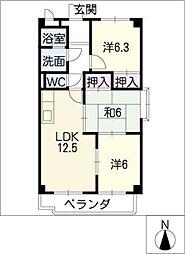 エステートEX−白鳥[4階]の間取り