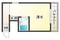 JPアパートメント守口III 4階ワンルームの間取り