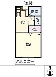 エスティーム天伯 B棟[1階]の間取り