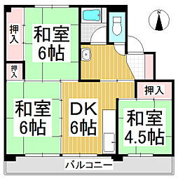 ビレッジハウス更埴 2号棟[1階]の間取り