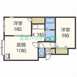 北海道札幌市東区北二十三条東20丁目の賃貸アパートの間取り