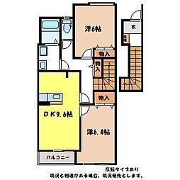 JR飯田線 小町屋駅 徒歩13分の賃貸アパート 2階2DKの間取り