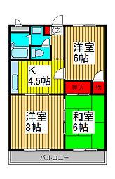 埼玉県さいたま市中央区鈴谷3-の賃貸マンションの間取り