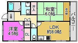 大阪府堺市東区引野町1丁の賃貸マンションの間取り