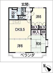 サンライズ宝塚[2階]の間取り