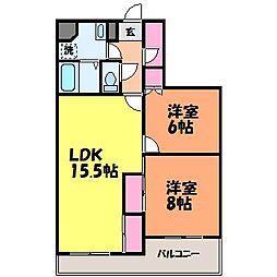 愛媛県松山市保免西3丁目の賃貸マンションの間取り