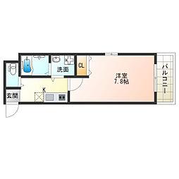 近鉄南大阪線 針中野駅 徒歩6分の賃貸アパート 2階1Kの間取り