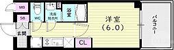 エステムコート神戸グランスタイル 6階1Kの間取り